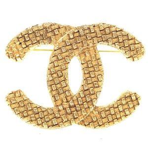 Gold Rare Cc Woven Brooch Pin Charm